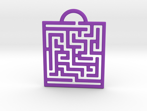 Maze Pendant in Purple Processed Versatile Plastic