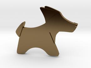 Origami Dog pendant in Polished Bronze