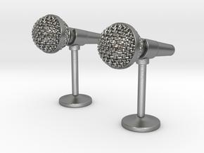 Microphone Cufflinks in Natural Silver