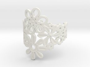 Spring  Flower Ring in White Natural Versatile Plastic