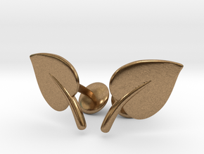 Leaf Cufflinks in Natural Brass