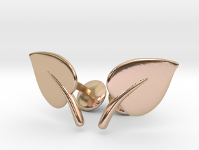 Leaf Cufflinks in 14k Rose Gold Plated Brass