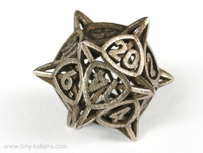 'Center Arc' dice, D20 balanced gaming die in Stainless Steel