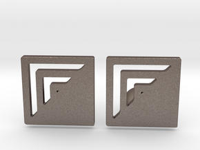 Square Designer Cufflinks in Polished Bronzed Silver Steel