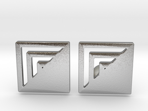 Square Designer Cufflinks in Natural Silver