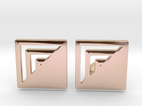 Square Designer Cufflinks in 14k Rose Gold Plated Brass