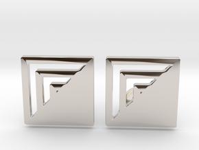 Square Designer Cufflinks in Rhodium Plated Brass