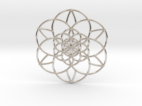 Fractal Flower of life  in Rhodium Plated Brass