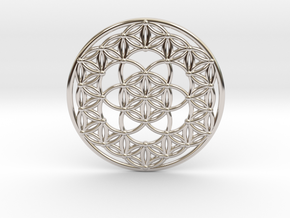 Seed Of Life - Flower Of Life in Rhodium Plated Brass