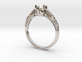 Classic Diamond ring SEMI MOUNT  in Rhodium Plated Brass: 6.25 / 52.125