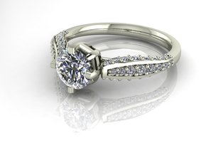 Classic Diamond ring SEMI MOUNT  in Polished Silver: 6.25 / 52.125