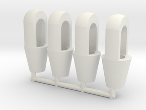 Closed spelter sockets 1:50 for 2mm wire in White Natural Versatile Plastic