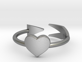 Arrow with one heart ring 17mm in Raw Silver