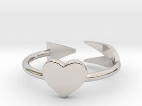Arrow with one heart ring 17mm in Rhodium Plated Brass