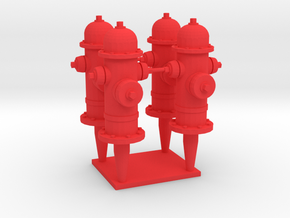 FH1, 1/32 Scale Classic  Fire Hydrants in Red Strong & Flexible Polished