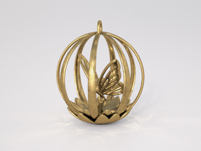 Butterfly Cage Pendant in Polished Brass