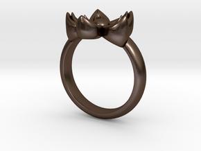 Kanzashi Ring in Polished Bronze Steel: 4 / 46.5