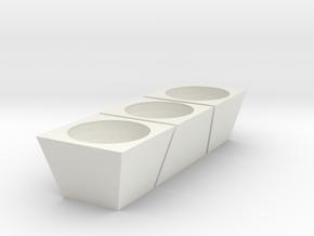 3 Flower pot in White Natural Versatile Plastic