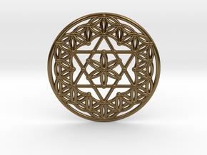 Flower Of Life - Merkaba in Polished Bronze