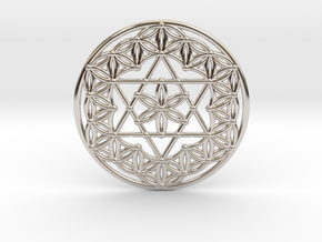 Flower Of Life - Merkaba in Rhodium Plated Brass
