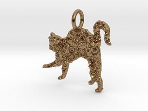 Cat Pendant in Natural Brass
