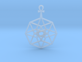 TesserAnkh Pendant in Smooth Fine Detail Plastic