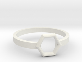 Octagonal Ring in White Natural Versatile Plastic: 8 / 56.75