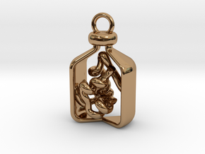 Vial of Insulin Charm - A treatment, not a cure. in Polished Brass
