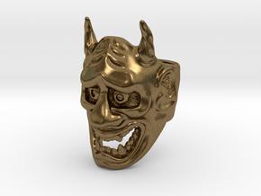 Hannya Oni Mask Ring in Natural Bronze: Medium