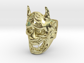 Hannya Oni Mask Ring in 18k Gold Plated Brass: Medium
