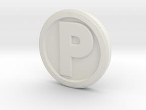 Printle Base (Round High) 2.5 cm in White Natural Versatile Plastic