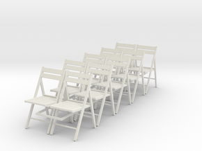 10 1:24 Wooden Folding Chairs in White Strong & Flexible