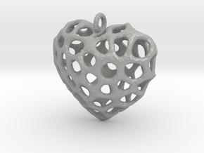 Voronoi Heart Piece Necklace in Aluminum