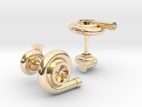 Turbocharger Cufflinks in 14K Yellow Gold