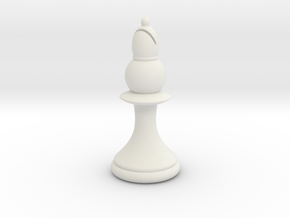 Pawns with Hats - Bishop in White Natural Versatile Plastic: Small