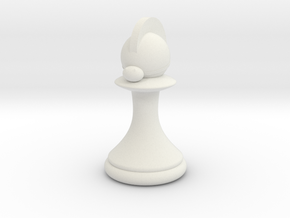 Pawns with Hats - Knight in White Natural Versatile Plastic: Small