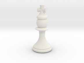 Pawns with Hats - King in White Natural Versatile Plastic: Small