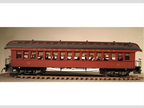 Wood Passenger Car 1885 S Scale 1/64 in Smooth Fine Detail Plastic