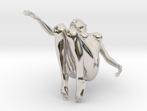 Elegant 3D Girl in Rhodium Plated Brass