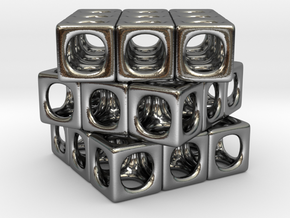 Rounded Cube in Polished Silver
