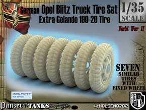 1-35 Opel Blitz Tire 190x20 Set1 in White Strong & Flexible Polished