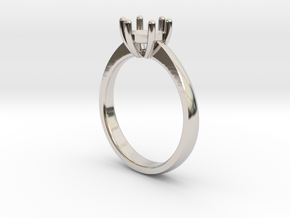 Solitaire ring in Rhodium Plated Brass: 6.5 / 52.75