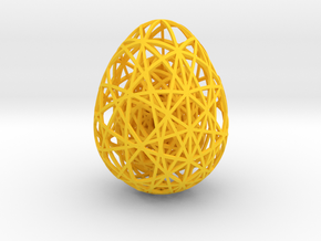 Egg in Egg in Egg - 60mm hight in Yellow Strong & Flexible Polished