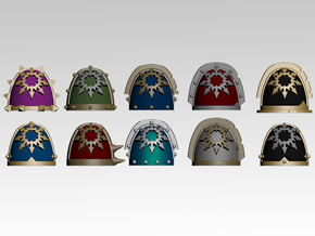 Chaos Star Spiked Shoulder Pads x10 in Smoothest Fine Detail Plastic