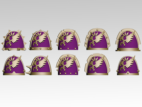 Phoenix Spiked Shoulder Pads x10 in Smoothest Fine Detail Plastic