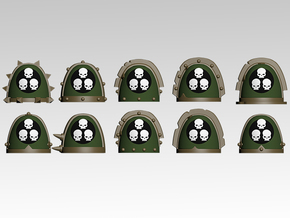 Plague Spiked Shoulder Pads x10 in Smooth Fine Detail Plastic