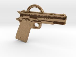 .45 Caliber Semi Auto Pistol Pendant in Natural Brass