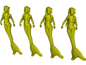 1/35 scale mermaid swimming figures x 4 in Smooth Fine Detail Plastic