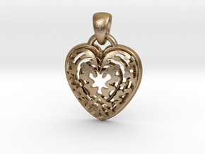 ButterFly Heart Pendant in Polished Gold Steel