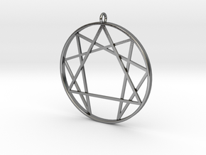 Enneagram  pendant / Fourth way pendant  in Polished Silver: Medium